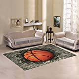 Love Nature Sweet Home Modern Collection Custom basketball embedded in a brick wall Area Rug 7'x5' Indoor Soft Carpet