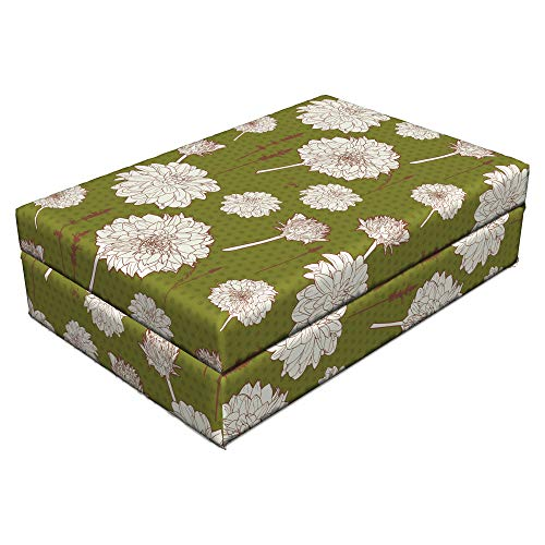- Lunarable Vintage Floral Pet Bed, Romantic Aster Bouquet Design Floral Composition Dots Backdrop, Animal Mat Foam and Stylish Printed Cover, 24