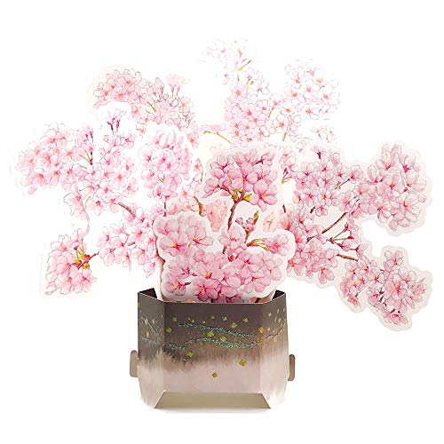 Pink Bouquet Cherry Blossom Pop Up Greeting Card