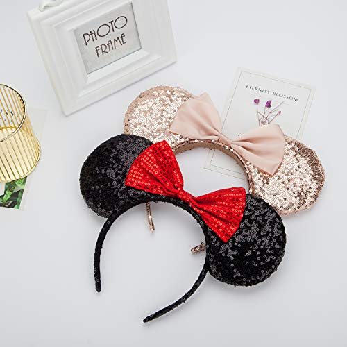 Mouse Ears headband,2pcs Sequin Headband Glitter Hairband for Baby Shower Headwear Halloween Theme Party Decorations (Red&Gold))