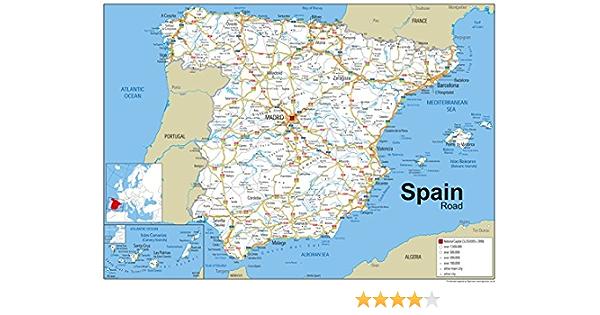 Mapa de carreteras de España en papel laminado, tamaño A1 (59,4 x 84,1 cm): Amazon.es: Oficina y papelería