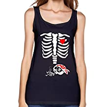 RORO Women's Skeleton Baby Pirate X-Ray - Cute Pregnancy Sleeveless Tank Tops Black