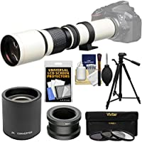 Vivitar 500mm f/8.0 Telephoto Lens (T Mount) (White) with 2x Teleconverter (=1000mm) + Tripod + 3 Filters Kit for Sony Alpha A3000, A5000, A5100, A6000, A7, A7R, A7S E-Mount Camera