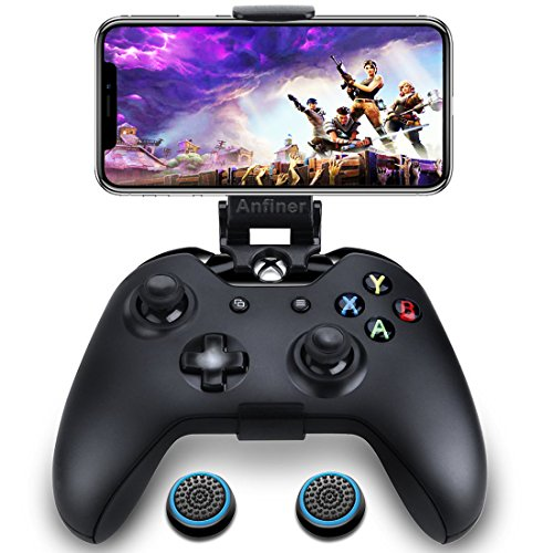 Anfiner Foldable Controller Mobile Phone Holder/Smartphone Clamp/Clip Compatible with Microsoft Xbox One/Xbox One S/Xbox One X/Steelseries Nimbus/SteelSeries Stratus XL Wireless Bluetooth Controllers
