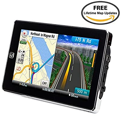 Car GPS Navigation, TSWA 7 inches 8GB Navigation System for Cars Lifetime Map Updates Touch Screen Spoken Turn-to-turn Alert Vehicle GPS Navigator