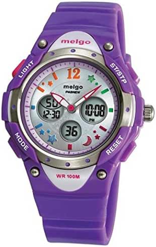 PASNEW Water-proof 100m Dual Time Unisex Child Outdoor Sport Watch Purple