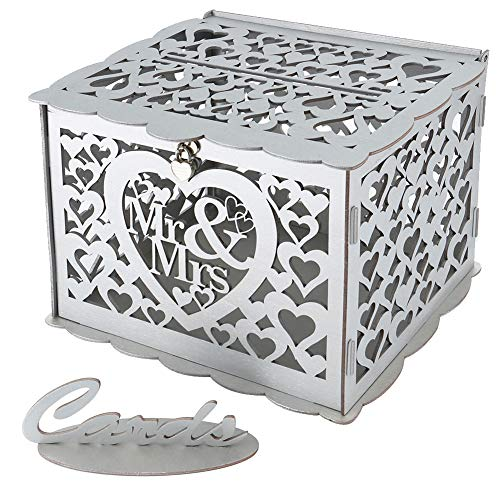 Artmag Wedding Money Box Holder with Sign, Large Rustic Wood Wooden DIY Envelop Gift Card Boxes with Lock Slot for Reception Anniversary Graduation Birthday Parties Baby Shower (Mr & Mrs, Silver)