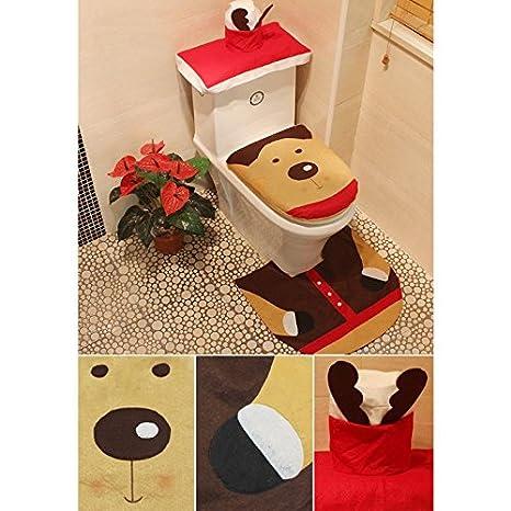 Star Five Store   3pcs Christmas Toilet Seat Cover Cushion Mat Cute Bear  Christmas