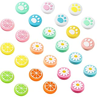 24 Pieces Replacement Soft Silicone Cat Paw Flower and Fruit Lemon Design Thumb Grip Caps Analog Stick Cover Joystick Cap Luminous Cover Compatible with Nintendo Switch, Switch Lite Joy-Con Controller