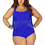 BABUBALA Distinctive Women's Plus Size High Waist Two Piece Fat Tassel Swimsuits Bikini