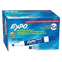 EXPO 80003 Marcadores de borrado en seco de bajo olor, punta de cincel, azul, 12 unidades