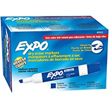 EXPO Low-Odor Dry Erase Markers, Chisel Tip, Blue, 12-Count