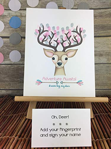 Customizable deer fingerprint guest sign in page featuring a buck with arrow details for a girl