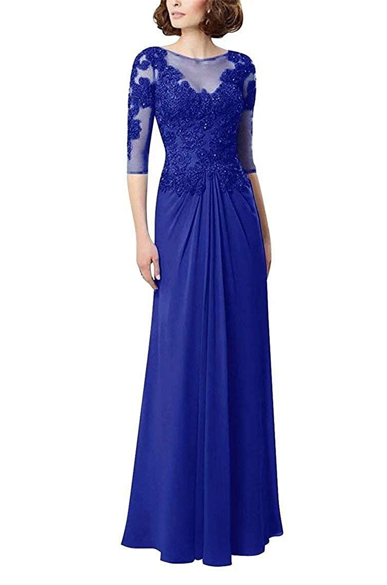 Royal bluee UZN Women's Lace Appliques Mother of The Bride Dress 3 4 Sleeves Long Long Formal Prom Evening Dress