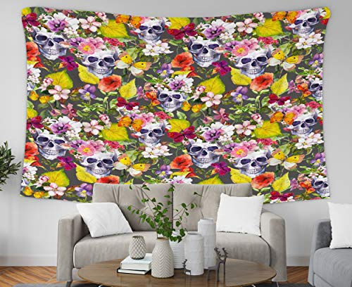 Pamime Home Decor Tapestry for Halloween Human Skulls Flowers Autumn Leaves Dia de Muertos Wall Tapestry Hanging Tapestries for Dorm Room Bedroom Living Room (50x60 Inches(130x150cm) Tapestry) ()
