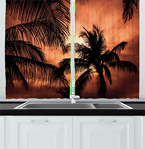 Ambesonne Apartment Decor Kitchen Curtains, Tropical Theme The Silhouette of Palm Trees at Sunset Digital Print, Window Drapes 2 Panels Set for Kitchen Cafe, 55W X 39L inches, Orange Dark Orange