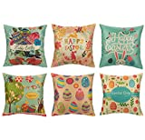 6 Pack Easter Throw Pillow Covers - Easter Home Decorations - Includes 6 Different Easter Designs, 18 x 18 Inches