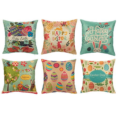 Easter Throw Pillow Covers - Set of 6 Cushion Covers - Includes 6 Different Easter Designs, 18 x 18 Inches