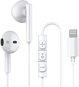 iPhone Headphones,Twinice Wired iPhone Headphones with Microphone & Volume Control iPhone Earphones with Mic Earbuds MFi Certified Compatible with iPhone 11/12 Pro/12 Pro Max/11 Pro/iPhone XR (White)