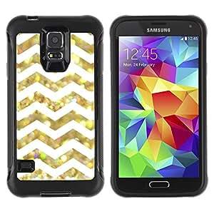 Suave TPU Caso Carcasa de Caucho Funda para Samsung Galaxy S5 SM-G900 / White Glitter Chevron Pattern Shiny / STRONG