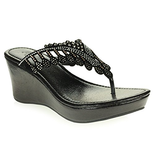 Crystal Wedge Size Shoes Ladies Heel AARZ Black Low Sandal Slip LONDON Casual Comfort Diamante On Womens Lightweight 4Awfqt