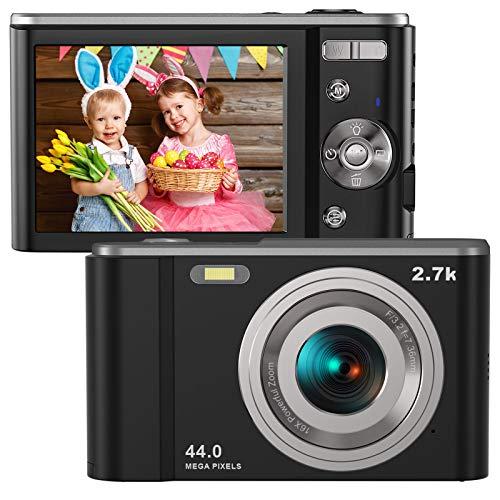 Digital Camera HD 2.7K 44 MP Vlogging Camera with Webcam, Point & Shoot Digital Camera with 2.88″ IPS Screen, 16X Digital Zoom, 2 Batteries, Gift for Birthdays,Christmas,Thanksgiving Days -Black