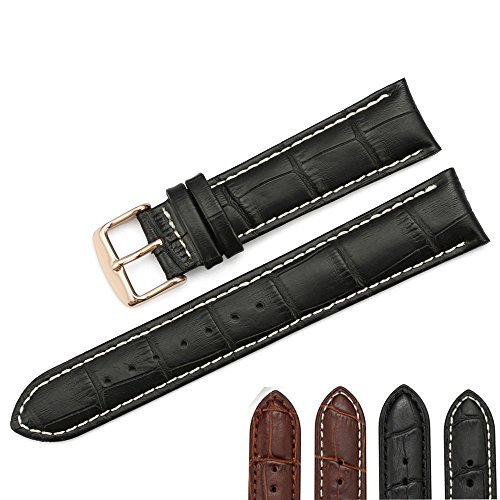 iStrap 22mm Calfskin Padded Watch Band Tan Stitch Rose Gold Metal Buckle for Men Women - Black