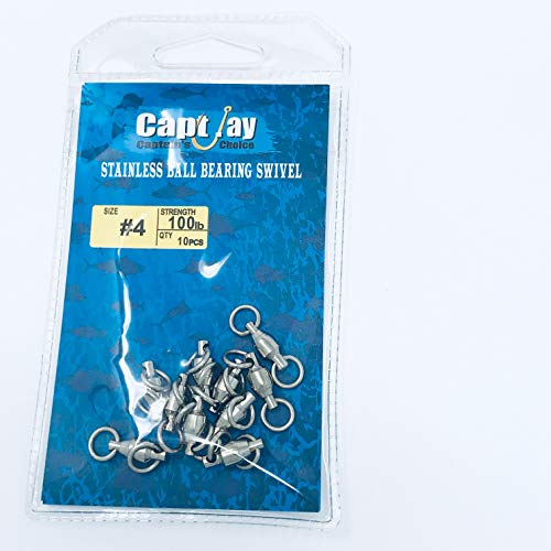 - Capt Jay Fishing High Strength Fishing Ball Bearing Swivels Fish Swivel Connectors Strong Solid Welded Rings (#4 10pc/Package) 100lb