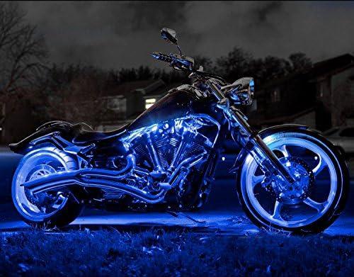 Queenwind 14個のブルーワイヤレスコントロールリモート84Ledネオンアクセントライトオートバイバイク