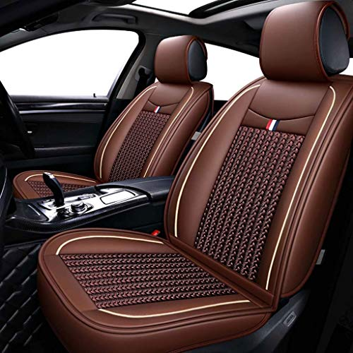Lykaci Car Seat Covers Set Leather, Universal 5 Seats Seat Cushions for the front seats and rear seat Seats (Color : Brown):