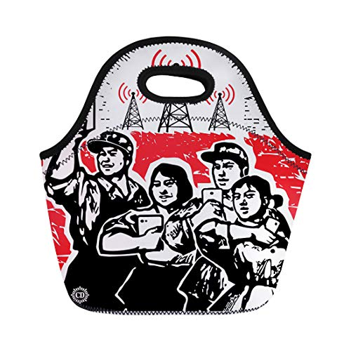 Semtomn Lunch Tote Bag Red Propaganda Digital Culture Parody Cultural Revolution in China Reusable Neoprene Insulated Thermal Outdoor Picnic Lunchbox for Men Women (The Leader Of The Chinese Red Army)