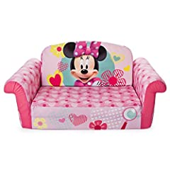 Get cozy with the Minnie Mouse themed 2-in-1 Flip Open Sofa from Marshmallow! It easily transforms from a sofa into a lounger. Kids can easily transform their sofa into a lounger all by themselves with just the flip of a seat. These fun and f...