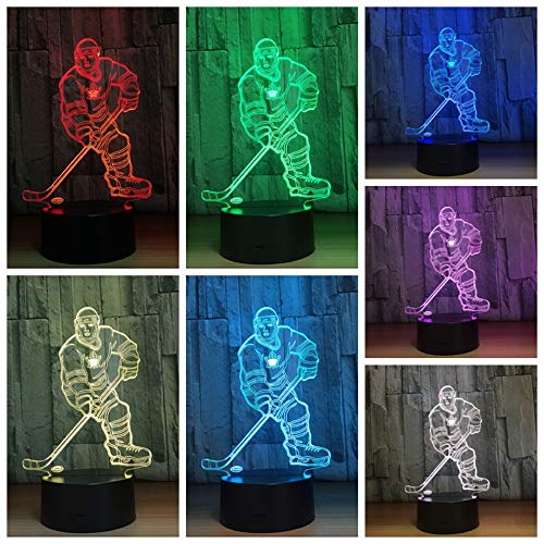 3D Night Light Lamp Dimmable Touch & Remote Control Ice Hockey Player 7 Colors Light Battery Or USB Powered Boys Girl Toy Decor for Christmas Birthday Party Gifts Children Kids -
