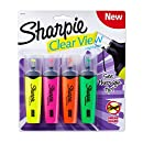 Sharpie Clear View Highlighters, Chisel Tip, Assorted Colors, 4-Count