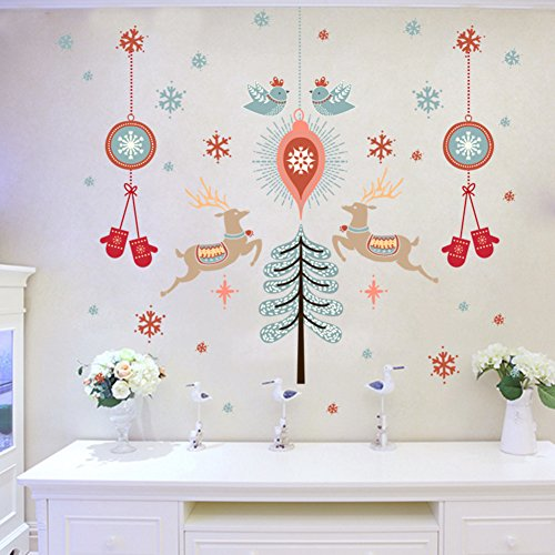 CDFGDJGGDGD Wall Stickers for Bedroom,Christmas Atmosphere Wall Sticker Glass Sliding Door Sticker Window Shop Stickers Arranging Dress up Ornament Applique-A 90x60cm(35x24inch)