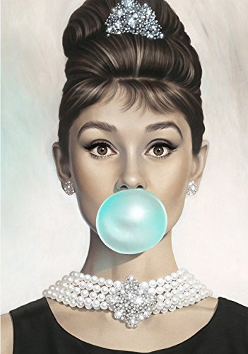 Van Eyck Audrey Hepburn Tiffany blue Bubble Gum Canvas print Wall Art for Living Home Decoration20x28 inch unframed