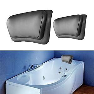 VIPASNAM Black Bathtub Pillow Headrest Waterproof PU Bath Pillows Bathroom  Supplies