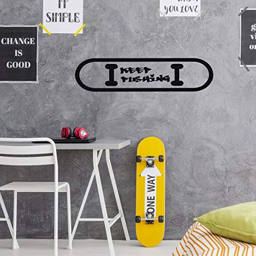 Skateboard Wall Decor - Keep Pushing - Decals for Home Decor, Bedroom, Dorm Or - Venue Skateboards