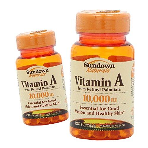 (2 Pack) Sundown Naturals Vitamin A, 10,000 IU, 100 Softgels ea.