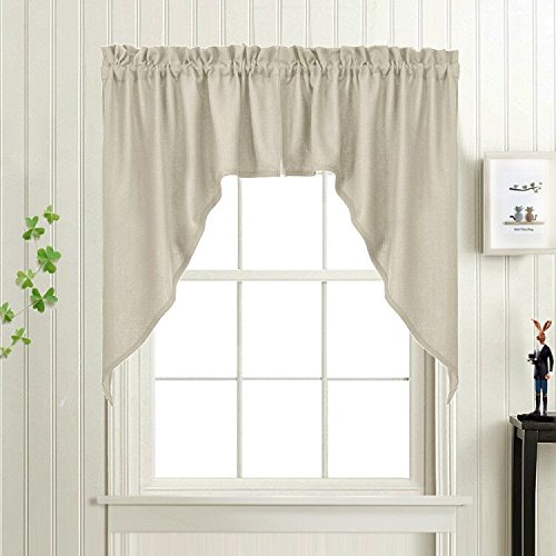 Swags Valance Curtains for Kitchen Windows Casual Weave Semi Sheer Curtain Panels for café 1 Pair, 36