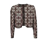 Abetteric Women's Crop Top Printing Pattern Batik Coat Africa Vogue Cardigan 2 3XL