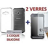 2 Vitres en verre trempé + 1 Coque Gel Silicone SAMSUNG XCOVER 3 G388F by Campus Telecom®