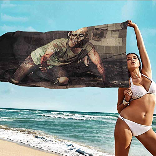 Antonia Reed Custom Towels for Adults Zombie,Halloween Scary Dead Man in The Old Building with Bloody Head Nightmare Theme,Grey Mint Peach,Suitable for Home,Travel,Swimming Use 20