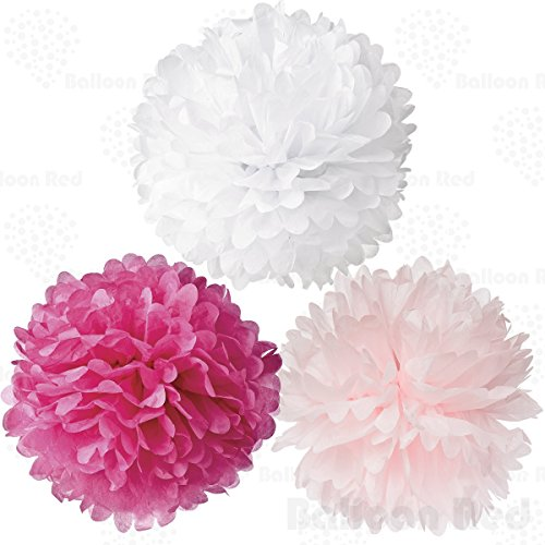 [18 Inch Tissue Paper Flower Pom Poms, Pack of 6, Hot Pink x 2 / Light Pink x 2 / White x 2] (Homemade Kids Halloween Costumes 2016)