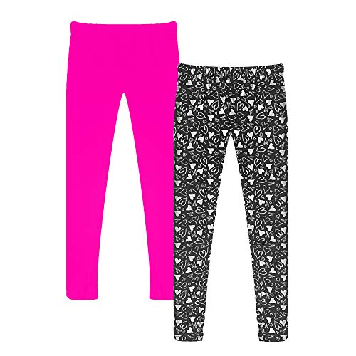 Popular Girl's Solid and Print Active Leggings - 2 Pack - Hearts and Solid Hot Pink - 14/16]()