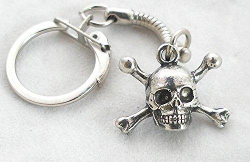 Amazon.com: Solid peltre Skull & Crossbones Llavero: Automotive