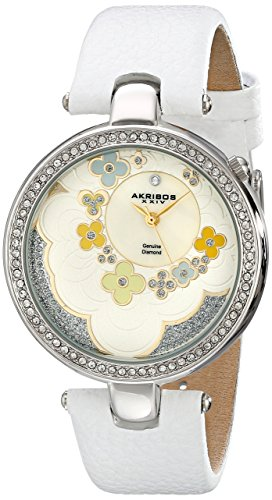 Akribos XXIV Women's AK601WT Lady Diamond Flower Dial Swiss Quartz Leather Strap Watch