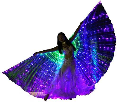 翼360度の大きな羽の蝶のダンス発光小道具パフォーマンスのベリーダンスの翼を踊っ色LEDの発光翼