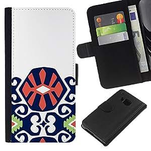All Phone Most Case / Oferta Especial Cáscara Funda de cuero Monedero Cubierta de proteccion Caso / Wallet Case for HTC One M9 // Purple Green Orange Pattern Inca
