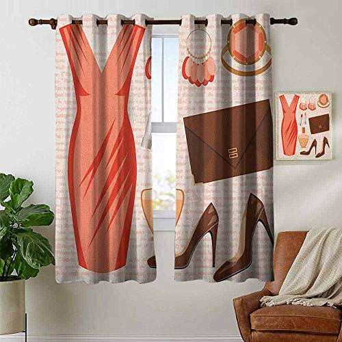 Window Blackout Curtains Heels and Dresses,Accessories Fashion Cocktail Dress Lipstick Earrings High Heels, Salmon Brown Peach,for Room Darkening Panels for Living Room, Bedroom 42